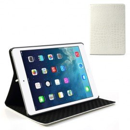 Etui cuir croco iPad Air 2 Blanc
