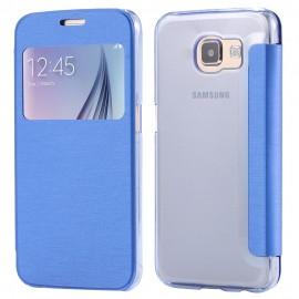 Etui Flip cover Bleu Samsung S6 Edge +