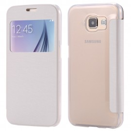 Etui Flip cover Blanc Samsung S6 Edge +
