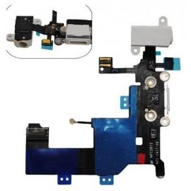 Nappe jack écouteur et connecteur de charge blanc iPhone 5