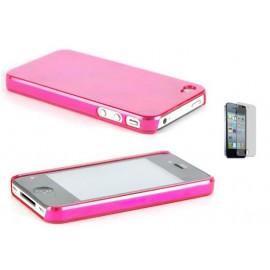 Coque en plastique rose pour iPhone 4/4S + film
