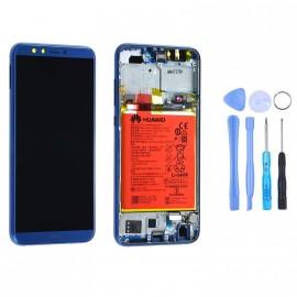 Ecran complet (châssis + batterie) Honor 9 Lite Bleu d'origine