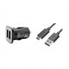 Prise double allume cigare + câble USB-C noir