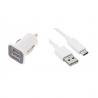 Prise double allume cigare + câble USB-C blanc