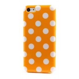 Coque à pois iPhone 5/5S/SE orange