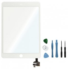 Vitre tactile blanche connecteur soudé iPad Mini 3