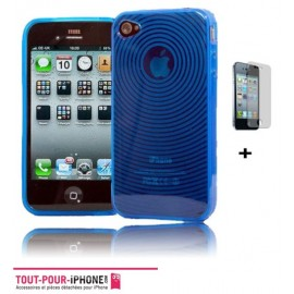 Housse silicone bleu iPhone 4