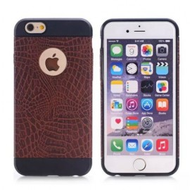 Coque silicone Croco iPhone 6 Plus / 6s Plus Marron foncé